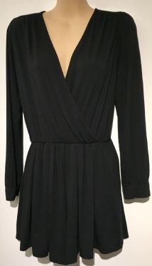 TOPSHOP BLACK JERSEY LONG SLEEVED CROSS OVER PLAYSUIT SIZE 10